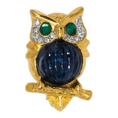 KJL Kenneth Jay Lane Gold Crystal Own Pin Brooch, Blue Jelly Belly Cabochon