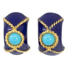 KJL Kenneth Jay Lane Gold Domed Clip On Earrings, Blue and Turquoise Enamel
