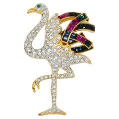 KJL Kenneth Jay Lane Gold Duchess of Windsor Crystal Flamingo Pin Brooch