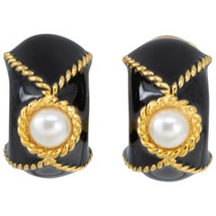 KJL Kenneth Jay Lane Gold Faux Pearl Domed Clip On Earrings, Black Enamel