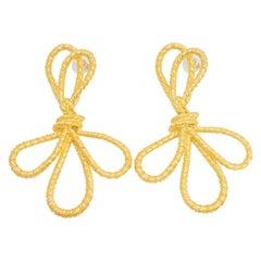 KJL Kenneth Jay Lane Gold Knotted Bow Drop Dangle Earrings, Modern