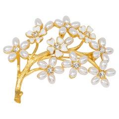 KJL Kenneth Jay Lane Gold Branch Pearl Flower Pin Brooch, Clear Crystals