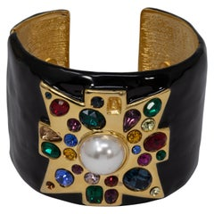 KJL Kenneth Jay Lane Jeweled Maltese Cross Black Enamel Cuff Bracelet in Gold