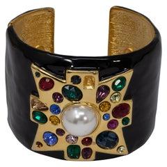KJL Kenneth Jay Lane Jeweled Maltese Cross Black Enamel Cuff Bracelet in Gold