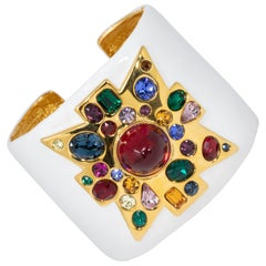 KJL Kenneth Jay Lane Jeweled Maltese Cross White Enamel Cuff Bracelet, Gold