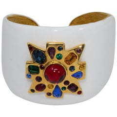 KJL Kenneth Jay Lane Jeweled Maltese Cross White Enamel Cuff Bracelet in Gold