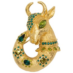 Oscar de la Renta Lane Mythological Fantasy Goat Pin, Brooch, Pendant in Gold
