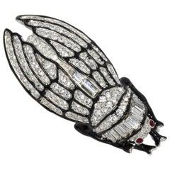 KJL Kenneth Jay Lane Pave Clear Crystal Black Enamel Cicada Pin Brooch