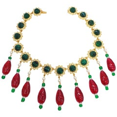 KJL Kenneth Jay Lane Red and Green Drop Accents Necklace w Faux Pearls, Crystals