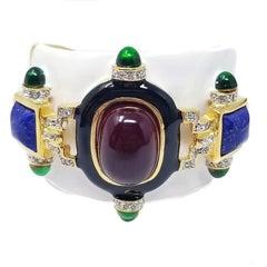 KJL Kenneth Jay Lane Ruby Cabochon White Cuff Bracelet