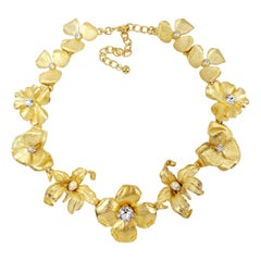 KJL Kenneth Jay Lane Satin Gold Flower Necklace, Crystal and White Pearl Centers