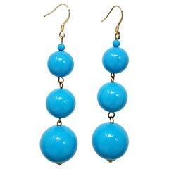 KJL Kenneth Jay Lane Three Turquoise Blue Bead Dangling Earrings