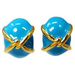 KJL Kenneth Jay Lane Turquoise Enamel Gold Accent Clip on Earrings