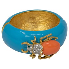 KJL Kenneth Jay Lane Turquoise Enamel Scarab Motif Bangle Cuff Bracelet
