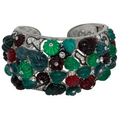 KJL Kenneth Jay Lane Tutti Frutti Cuff Bracelet, Rhodium Plated, Green Red Blue