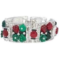 KJL Kenneth Jay Lane Tutti Frutti Cuff Bracelet, Rhodium Plated, Green Red Blue