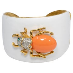 KJL Kenneth Jay Lane White Enamel Crystal and Resin Scarab Cuff Bracelet in Gold
