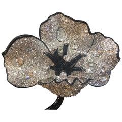 KJL Kenneth Lane Pave Diamanté Flower Couture Brooch Pin