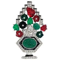 KJL Tutti Frutti Art Deco Fruit Pin Brooch with Clear Crystals, Rhodium