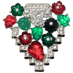 KJL Tutti Frutti Art Deco Fruit Pin Brooch with Clear Crystals, Rhodium Plated