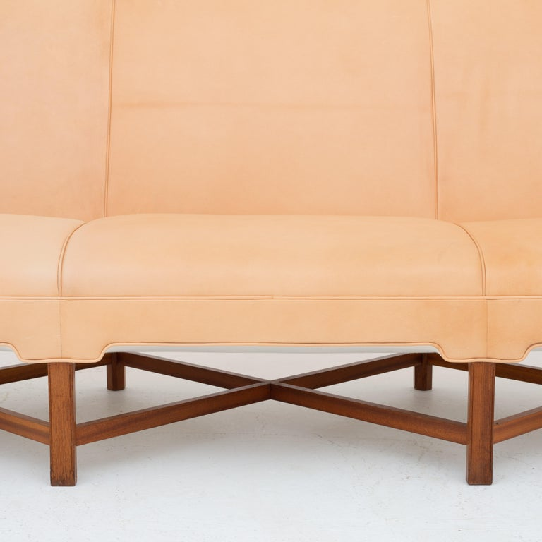 Danish KK 4118 3-Seat Sofa in Niger Leather by Kaare Klint For Sale