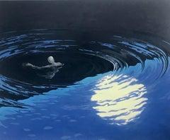 Floating, Night Landscape, Figure Swimming in Blue Water, Moonlight