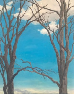 March Maples, Vertical Landscape Painting of Maple Trees and Sky in Brown, Blue