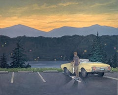 Overlook, Landscape at Sunset with Figure, Yellow Car, Mountains Pine Trees Lake