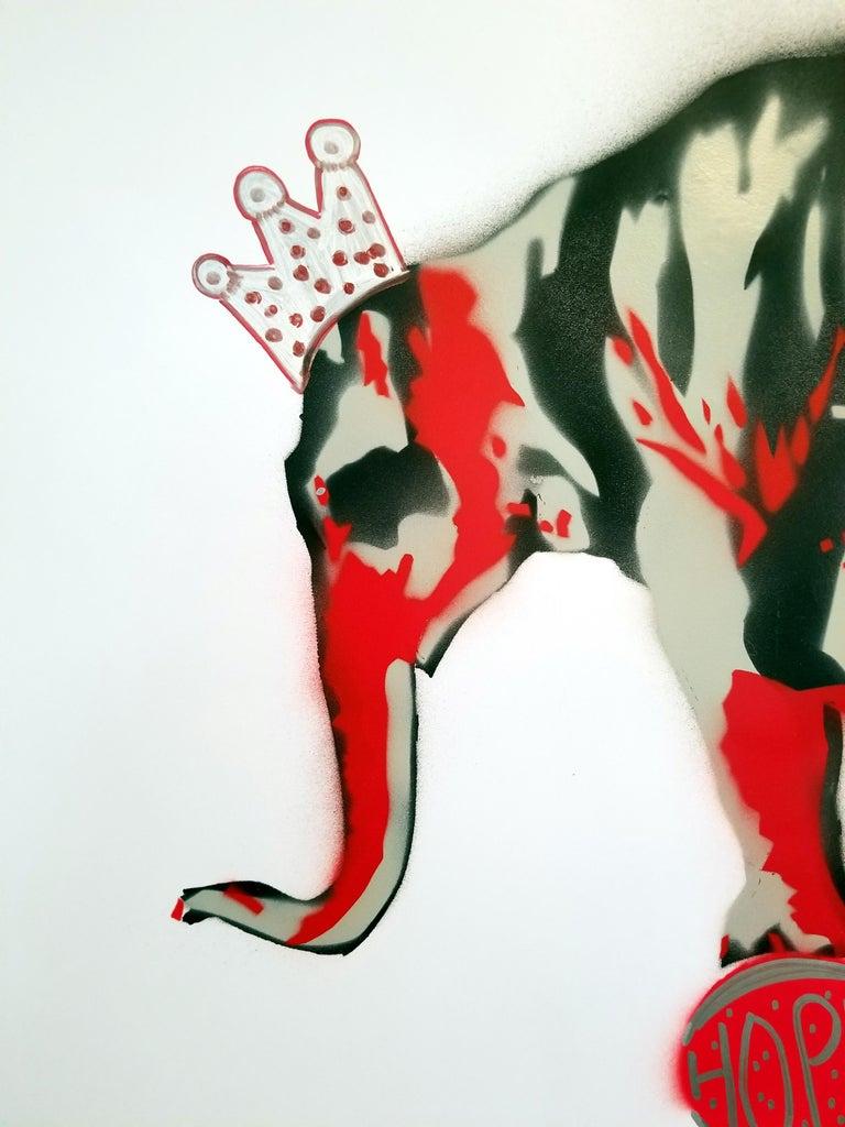Elephant: HOPE - Gray Animal Painting by K.K.