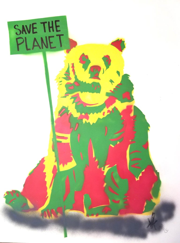 Grizzly Bear: Save The Earth PEACE - American Modern Mixed Media Art by K.K.