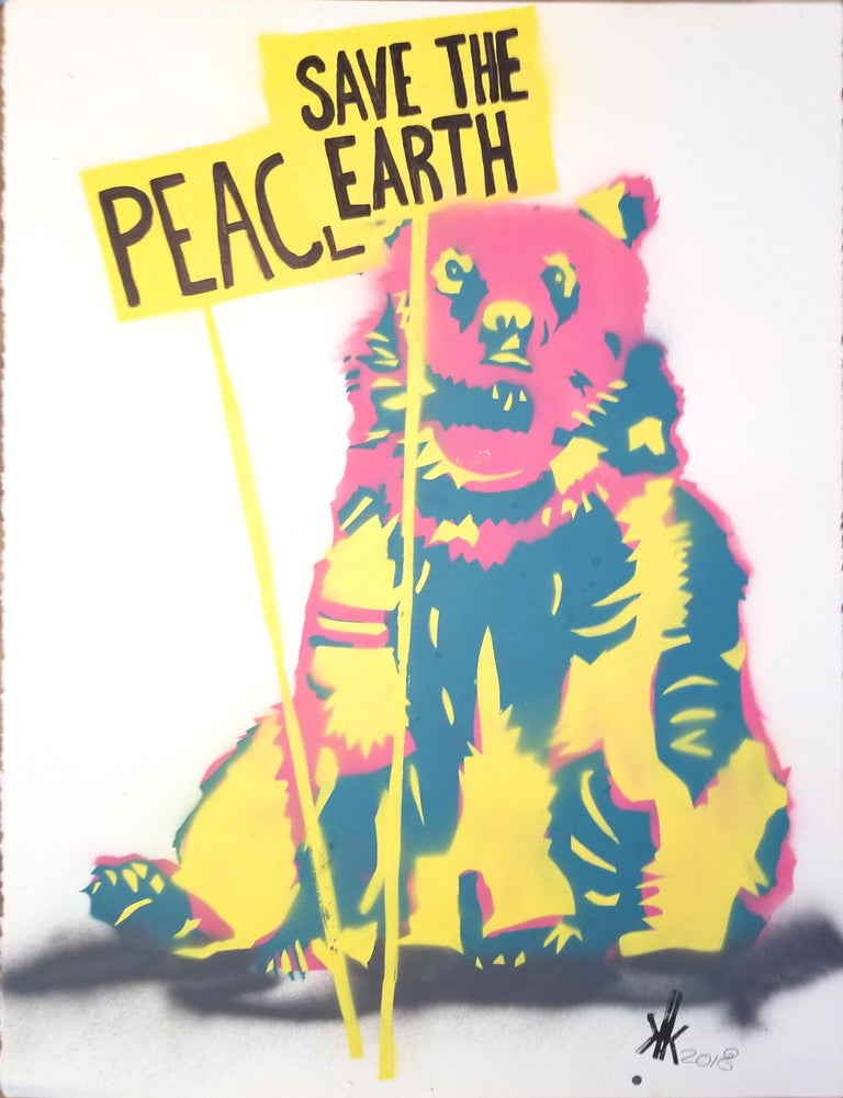 Grizzly Bear: Save The Earth PEACE - Mixed Media Art by K.K.