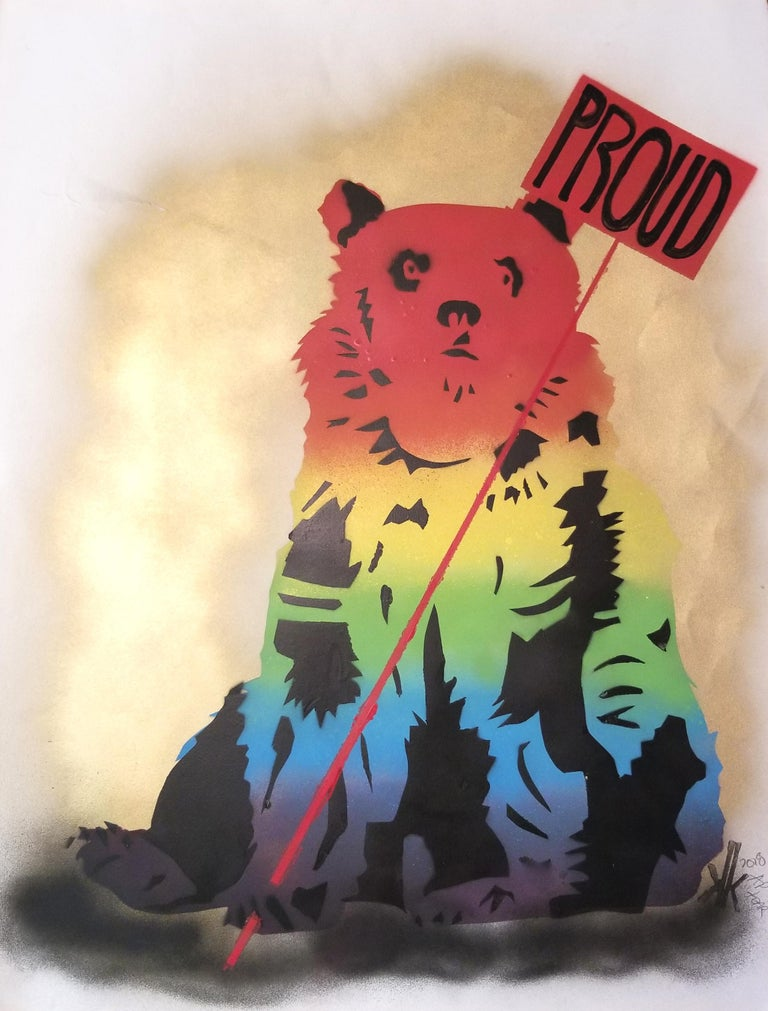 5 Layered Stencil : Green, Yellow,  Red Political Grizzly Bear holding a SAVE THE PLANET Showing other Bears in Series  Unique pieces This is on 90lb Paper color: Natural  New York Artist; K.K. comes rolled in a tube. Can be matted or floated in