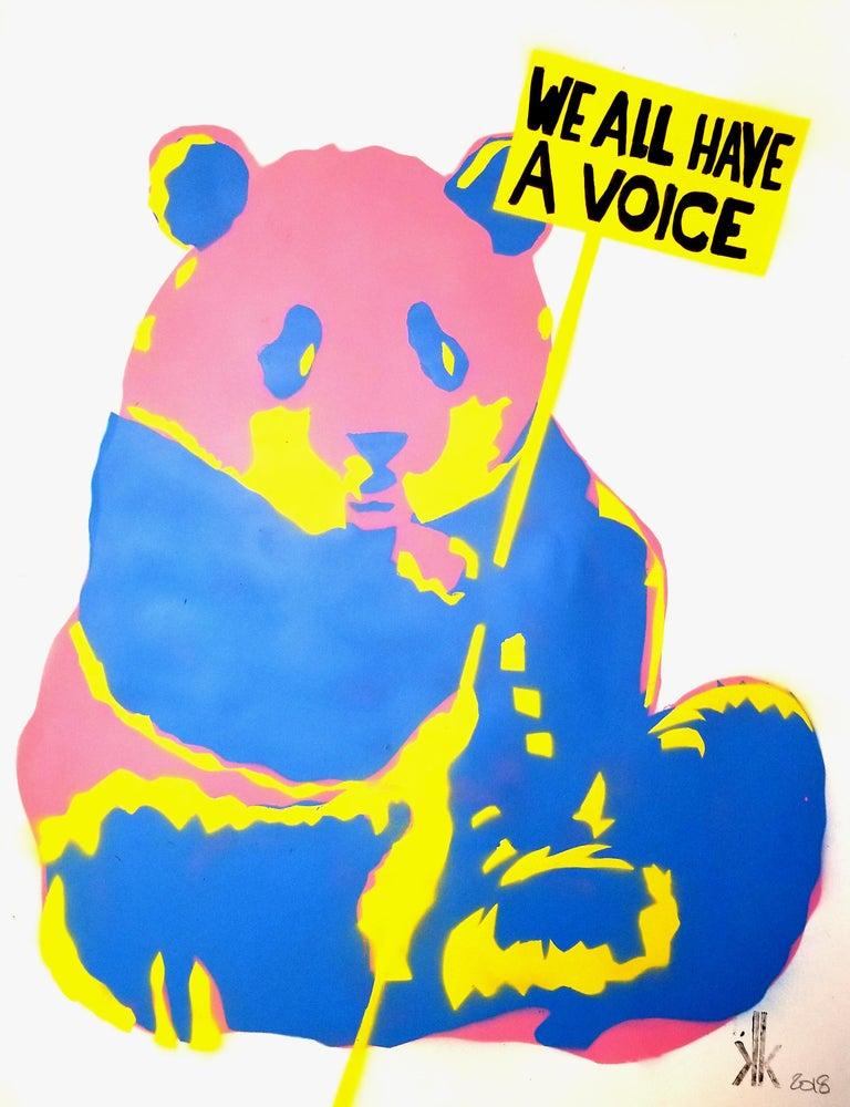 Panda SAVE THE HUMANS - Contemporary Mixed Media Art by K.K.