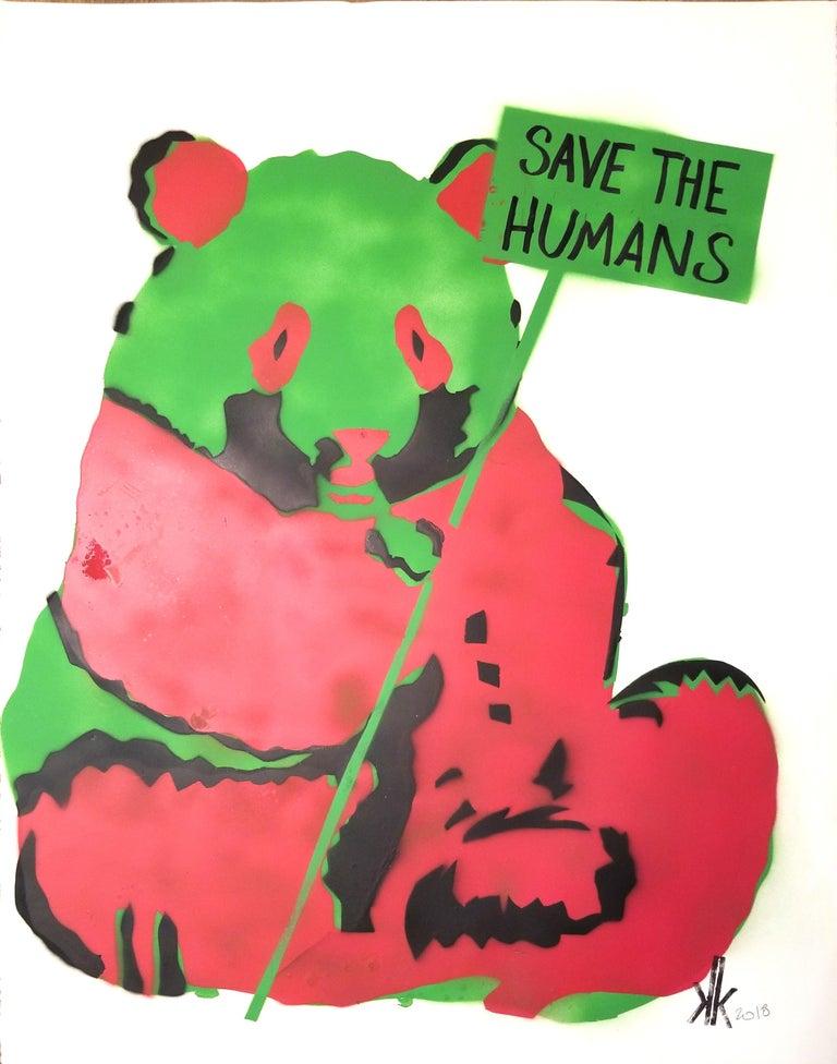 Panda SAVE THE HUMANS - Mixed Media Art by K.K.