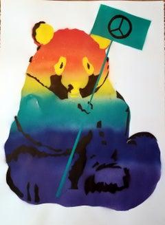 Rainbow Panda: PEACE SIGN