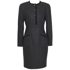 KL by Karl Lagerfeld 1980s grey cashmere & wool mix with KL logo buttons dress