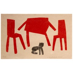 Klaas Gubbels Serigraphy in Black and Red, Hand-Signed and Numbered