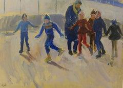 """ Ice-skating "" Skating,Children,Blue,White,Impressionism ,Oil cm. 46 x 32"