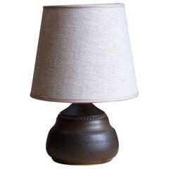 Klase Höganäs, Table Lamp, Brown Glazed Stoneware, Linen, Sweden, 1950s