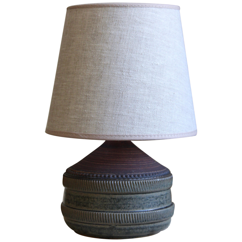 Klase Höganäs, Table Lamp, Stoneware, Linen, Sweden, 1950s