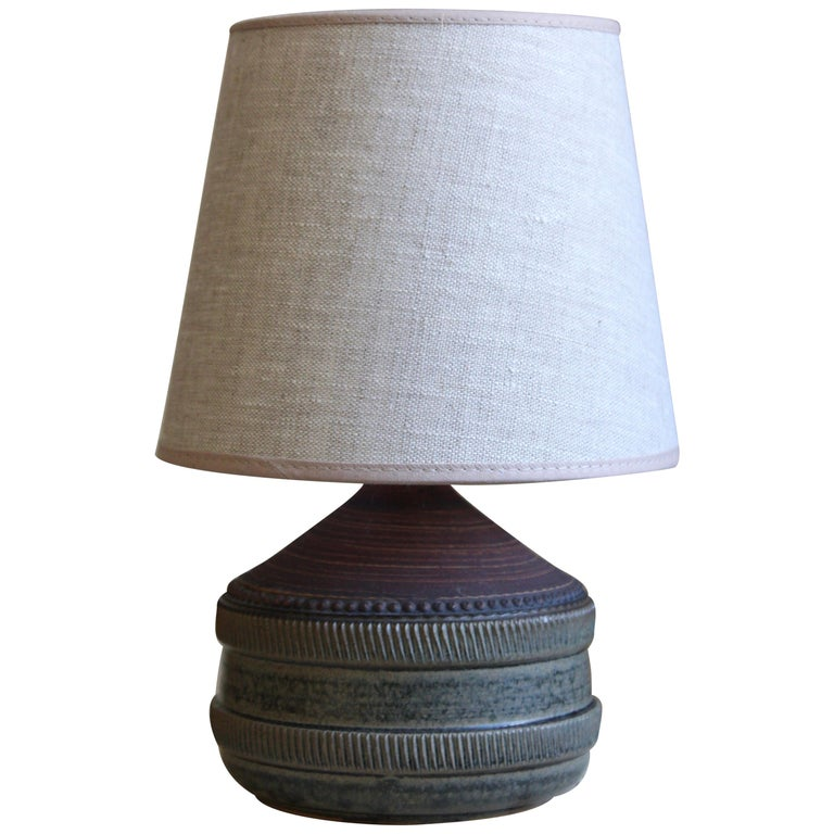 Klase Höganäs, Table Lamp, Stoneware, Linen, Sweden, 1950s For Sale