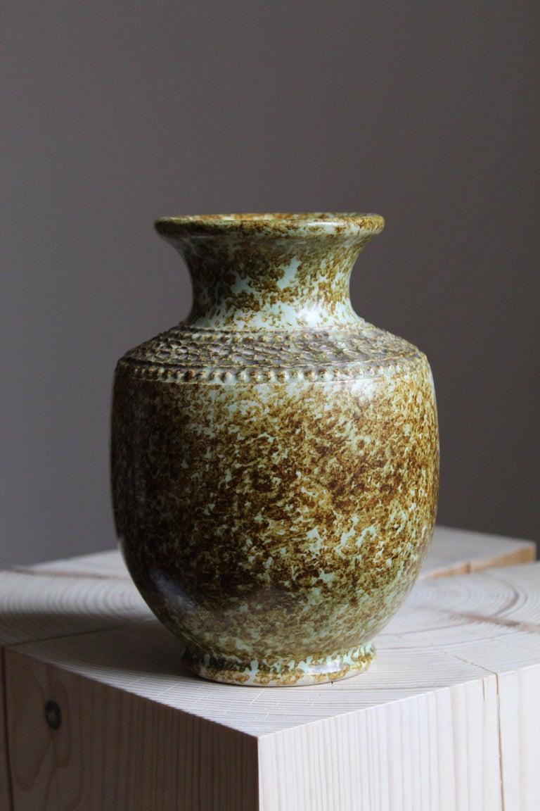 Mid-Century Modern Klase Höganäs, Vase, Glazed Stoneware, Sweden, 1950s For Sale