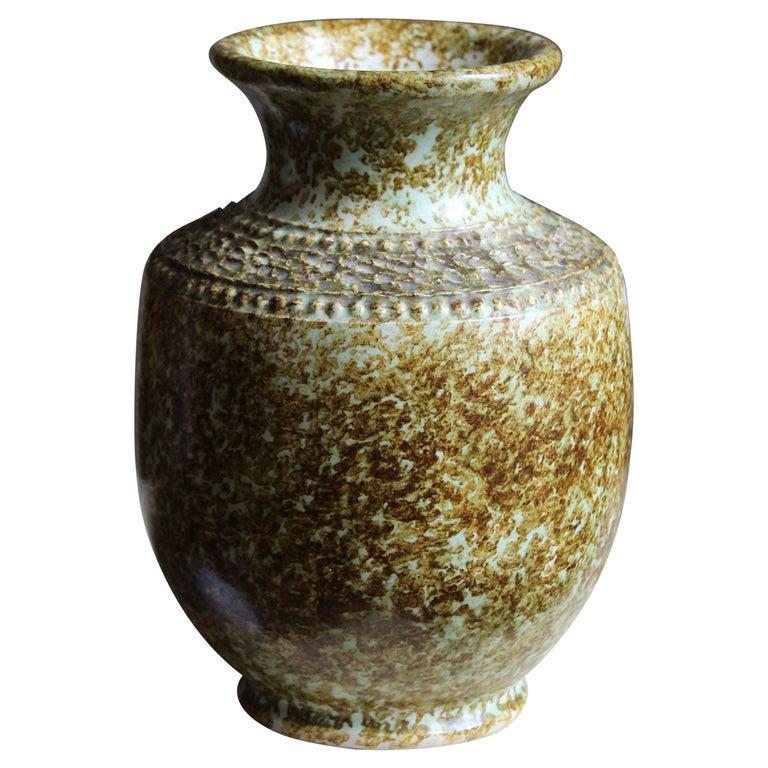Klase Höganäs, Vase, Glazed Stoneware, Sweden, 1950s For Sale
