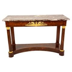 Klassizismus Konsole Schloßmöbel Mahagoni Marmorplatte Feuervergoldete Bronze