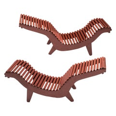 Klaus Grabe Adjustable Chaise Longue Model C5 in Red Wood