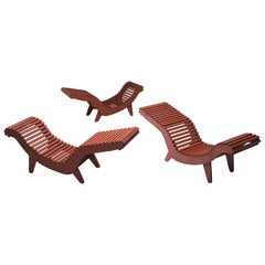 Klaus Grabe Sculptural Deep Red Chaise Lounges