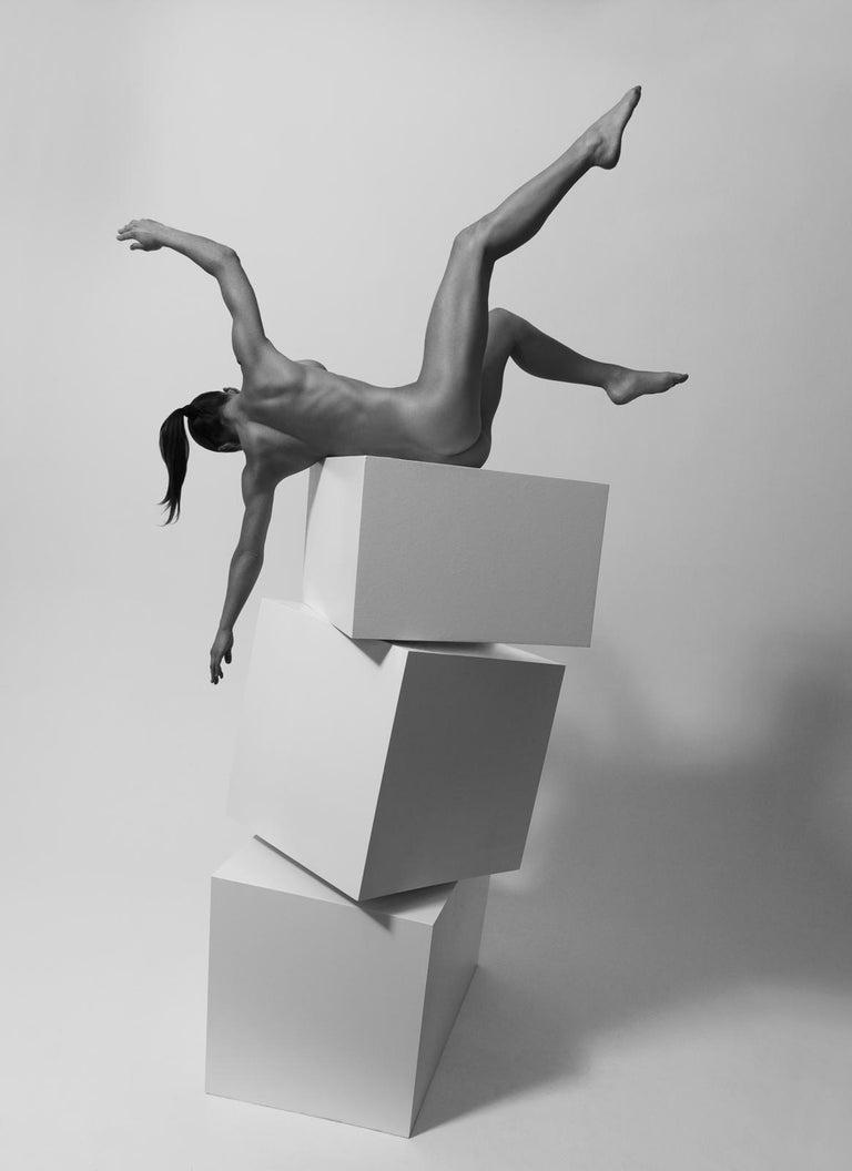 Klaus Kampert Black and White Photograph - 154.03.11, Dancing the Cubes series (black and White nude photography)