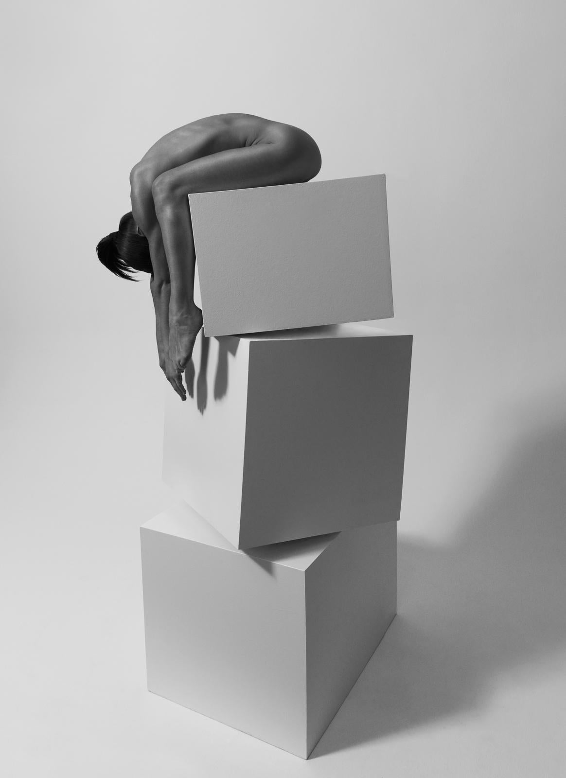 154.08.11, Dancing the Cubes series (black and White nude photography)