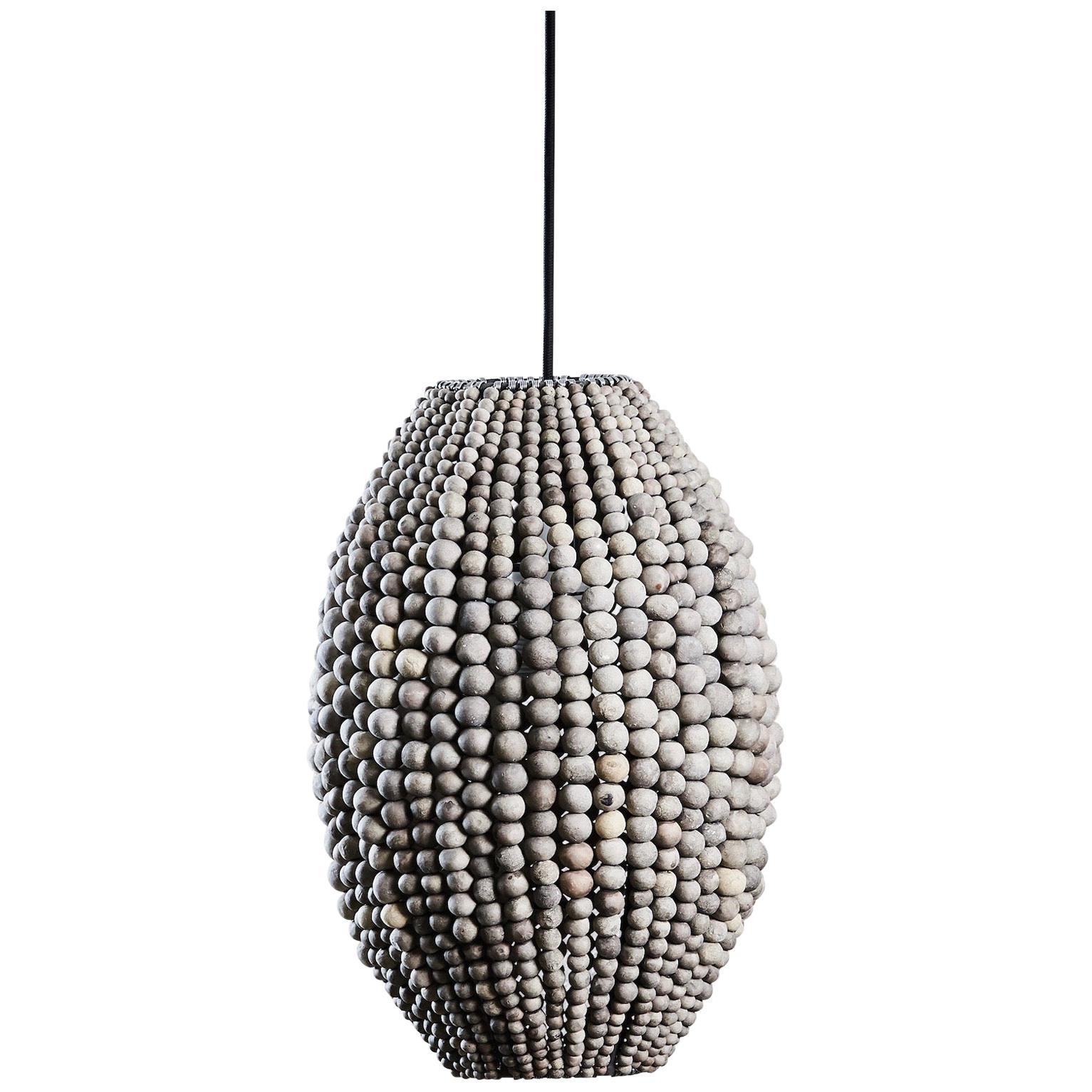 Klaylife Barrel, Grey Handmade Clay Beaded Pendant Light
