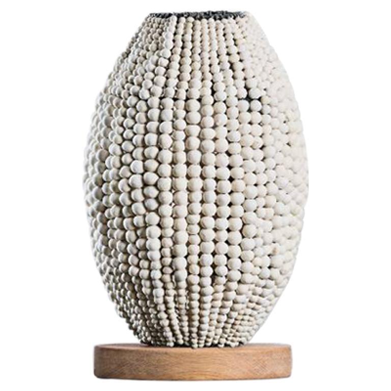 Klaylife Barrel, White Handmade Clay Beaded Table Lamp